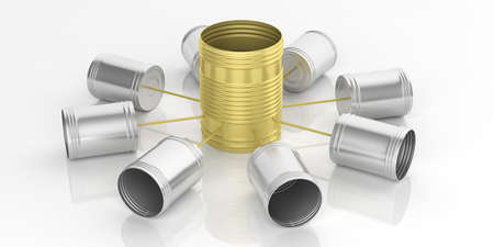 3d rendering tin cans telephone network on white background Stock Photo