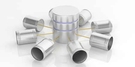 3d rendering tin cans telephone and database on white background