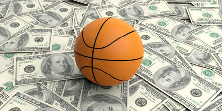 competitions: 3d rendering basket ball on100 dollars banknotes background
