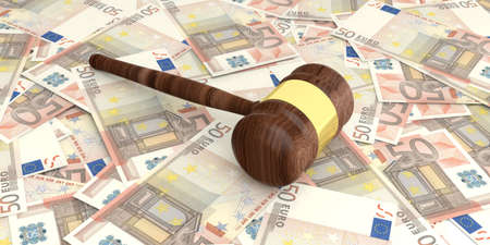 auction gavel: 3d rendering auction gavel on 50 euros banknotes background Stock Photo