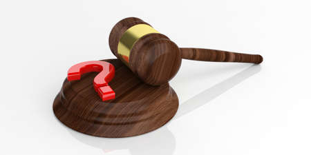 auction gavel: 3d rendering auction gavel and a question mark on white background Stock Photo