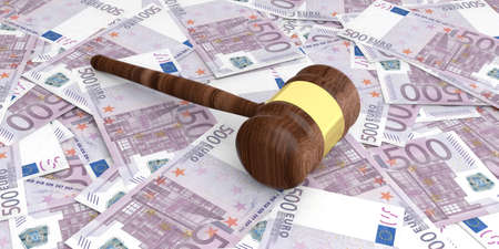 capital punishment: 3d rendering auction gavel on 500 euros banknotes background