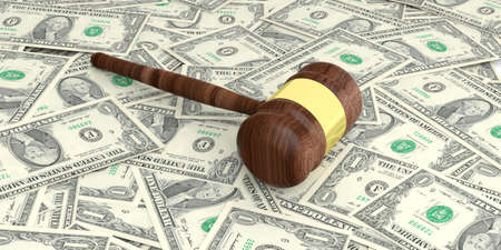 auction gavel: 3d rendering auction gavel on one dollar banknotes background