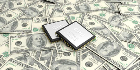 electronic background: 3d rendering electronic circuit on100 dollars banknotes background Stock Photo