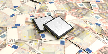 electronic background: 3d rendering electronic circuit on 50 euros banknotes background