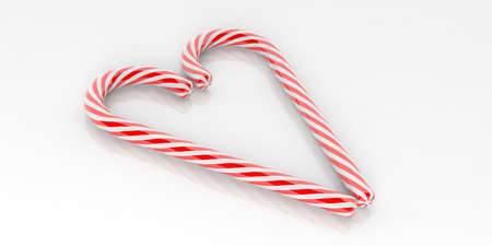 3d rendering candy canes heart on white background Stock Photo