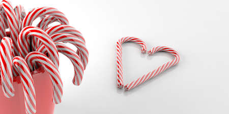 candycane: 3d rendering candy canes in a vase on white background