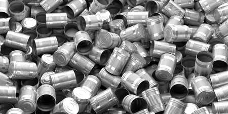 tin: 3d rendering empty silver tin cans background Stock Photo