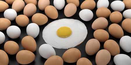 large group of objects: 3d rendering fried egg among raw eggs on black background