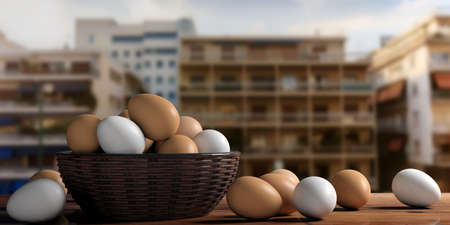 large group of object: 3d rendering white and brown eggs in a basket on a table