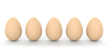 big five: 3d rendering brown eggs on white background Stock Photo