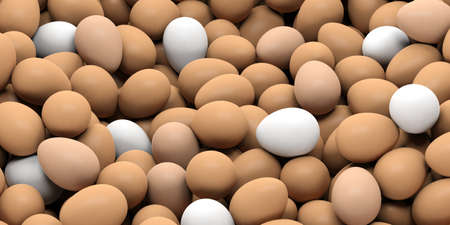 large group of object: 3d rendering brown and white eggs background