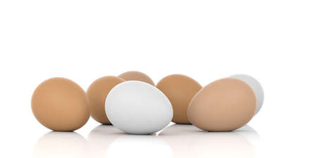 large group of objects: 3d rendering brown and white eggs on white background