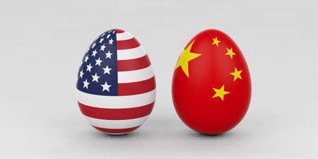 closeup: 3d rendering USA and China flags on standing eggs Stock Photo