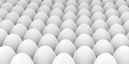 large group of objects: 3d rendering white eggs full background Stock Photo
