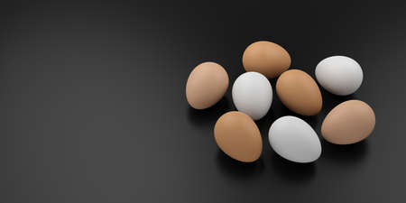 large group of animals: 3d rendering eggs on black background Stock Photo
