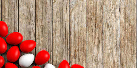 large group of objects: 3d rendering white and red eggs on a wooden background