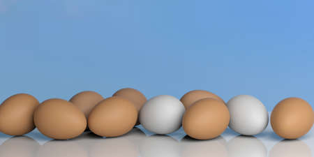 large group of object: 3d rendering white and brown eggs on a blue sky background