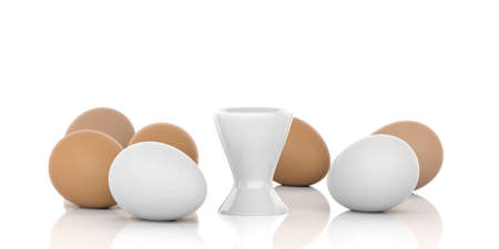 brown egg: 3d rendering brown and white eggs and egg cup on white background
