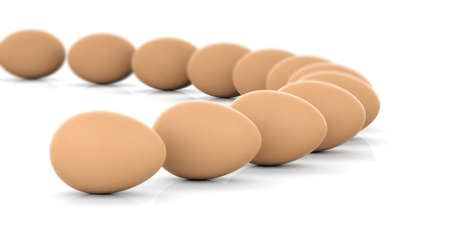 large group of animals: 3d rendering brown eggs on white background Stock Photo