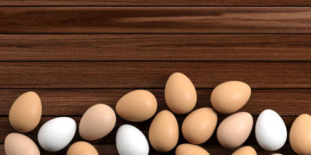 large group of objects: 3d rendering white and brown eggs on a wooden background Stock Photo