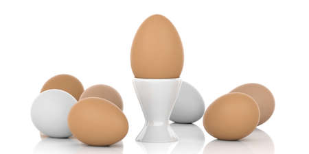 large group of object: 3d rendering brown and white eggs and egg cup on white background