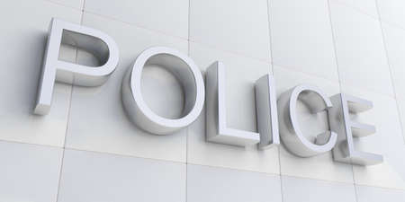 precinct station: 3d rendering silver police sign on white facade