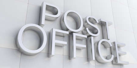 post office: 3d rendering silver post office sign on white facade