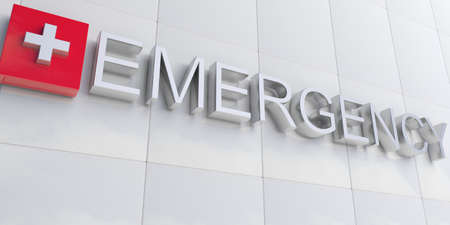3d rendering silver emergency sign on white facade