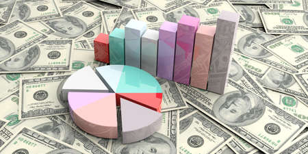 bank notes: 3d rendering bar and pie charts on 100 dollar bank notes background Stock Photo