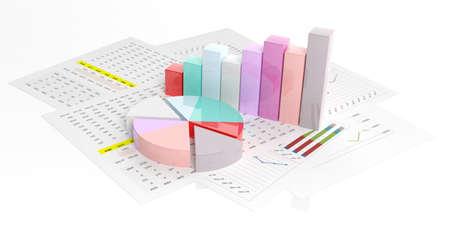 grafica de barras: 3d rendering bar and pie charts on white background Foto de archivo