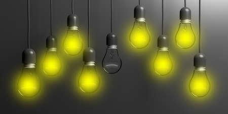 filament: 3d rendering light bulbs hanging on black background