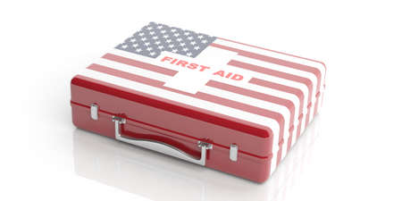 firstaid: 3d rendering first aid kit with USA flag on white background