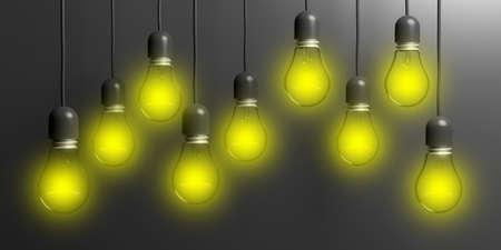 3d rendering light bulbs hanging on black background