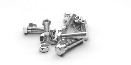 heap: 3d rendering nuts and bolts heap on white background