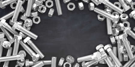 3d rendering bolts and nuts on black background with copy space