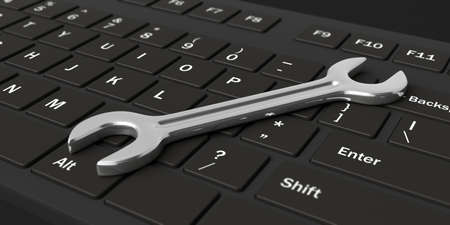 computer keyboard: 3d rendering spanner on a black keyboard