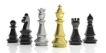 chess set: 3d rendering basic golden, silver and black chess set on white background Stock Photo