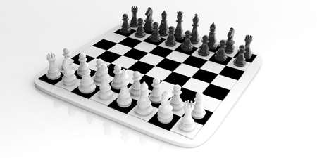 3d rendering chess set on a chessboard on white background