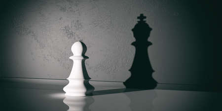 pawn to king: 3d rendering chess pawn with chess king shadow Stock Photo