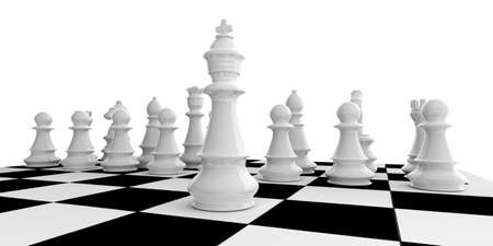 3d rendering white chess set on a chessboard