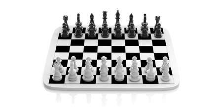 chess set: 3d rendering chess set on a chessboard on white background