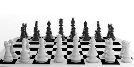 chess set: 3d rendering chess set standing on chessboard
