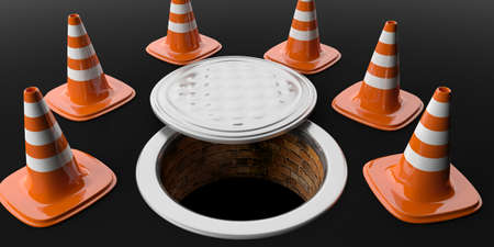 3d rendering traffic cones and manhole on black background