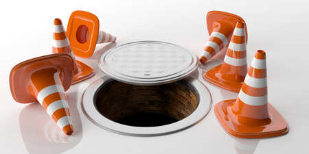 3d rendering traffic cones and manhole on white background Stock Photo