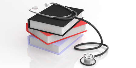 diagnosis: 3d rendering stethoscope and books on white background