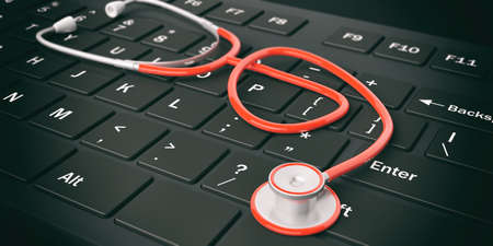 red stethoscope: 3d rendering red stethoscope on a keyboard Stock Photo