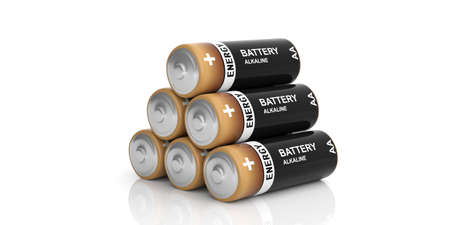 alkaline: 3d rendering alkaline batteries stack on white background Stock Photo
