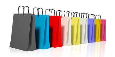 miscellaneous: 3d rendering miscellaneous colors shopping bags on white background Stock Photo