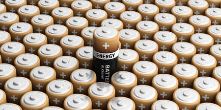 accumulator: 3d rendering batteries background, one out Stock Photo